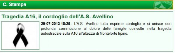 Comunicato Avellino incidente A16